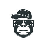 Monkey in sunglasses and a cap. Cool gorilla icon - 206603813