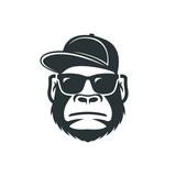 Monkey in sunglasses and a cap. Cool gorilla icon