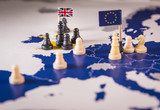 Chess pieces over an european map. Brexit concept - 206605609