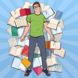 Pop Art Exhausted Student Lying on the Floor among Books. Overworked Young Man Preparing for Exams. Education Concept. Vector illustration - 206612683