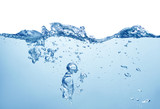 clean blue water with splash and air bubbles on white background