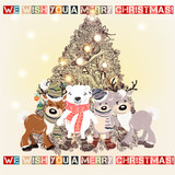 Christmas or New Year greeting card with hand drawn decorated Xmas tree and plush pretty toys - 206629821