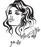 Fashion vector  illustration, portrait of young woman with beautiful lips and eyes. Style reflects who you are - 206630038