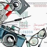 Fashion vector background lipstick, camera, glasses, words New York, London, Paris - 206630228