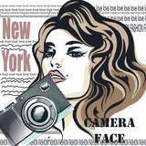Fashion vector illustration with beautiful woman and camera. New York camera face, stylish magazine - 206630281