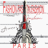 Fashion vector with Eifel tower, Paris, lipstick and words. Capital of style