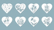 Set stencil hearts with Tulip, snowdrop, flower, butterfly, flower, star. Template for interior design, invitations, etc. Image suitable for laser cutting, plotter cutting or printing.