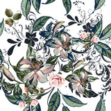 Floral pattern with roses, orange flowers and leafs - 206631631