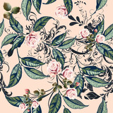 Floral pattern with roses, orange flowers and leafs in soft peach and pink color - 206631882