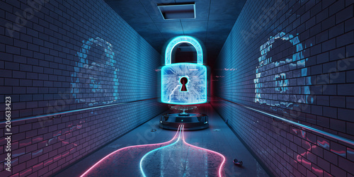 Underground cyber security hologram with digital padlock 3D rendering © sdecoret