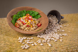 white beans salad with corn and tomatoes diet vegan 2 - 206650877