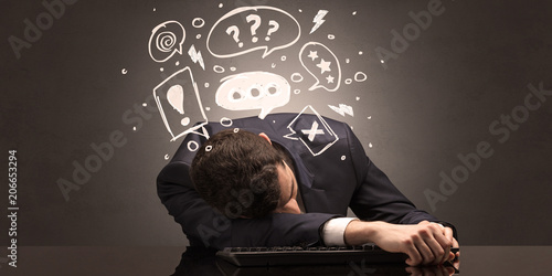 Leinwanddruck Bild Elegant teacher fell asleep at his workplace with full draw blackboard concept