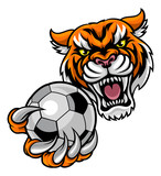 Tiger Holding Soccer Ball Mascot