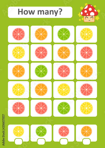 Counting game for preschool children. The study of mathematics. How many citrus in the picture. Lime, lemon, orange, grapefruit. With a place for answers. Simple flat isolated vector illustration.
