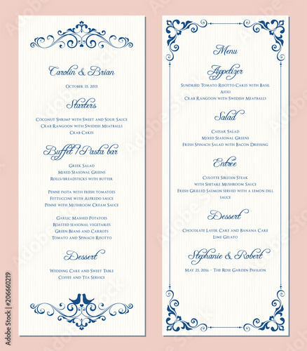 Ornate wedding menu card. Swirl floral template. Classic vintage design.
