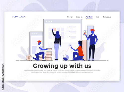 Flat Modern design of Landing page template - Growing up with us