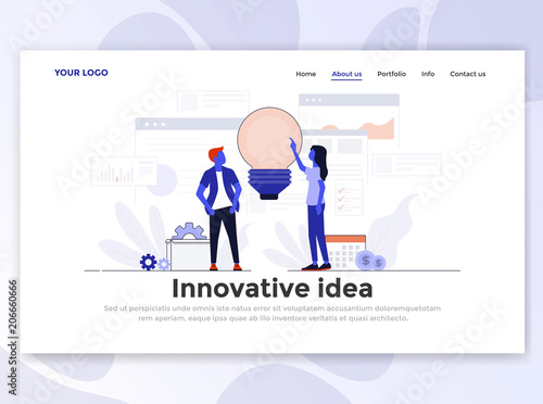 Flat Modern design of Landing page template - Innovative Idea
