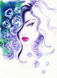 beautiful woman. fashion illustration. watercolor painting - 206660809