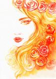 beautiful woman. fashion illustration. watercolor painting - 206660837