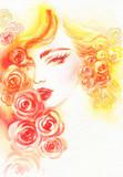 beautiful woman. fashion illustration. watercolor painting - 206660860