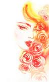 beautiful woman. fashion illustration. watercolor painting - 206660876