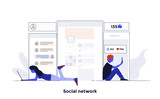 Modern Flat design Concept Illustration - Social Network - 206661446