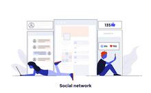Modern Flat Design Concept Illustration  Social Network Sticker