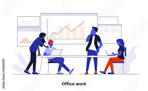 Sticker Modern Flat design Concept Illustration - Office Work