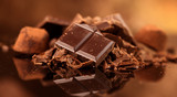Chocolate. Assorted chocolate sweets and candies over dark background. Confectionery - 206662237