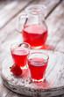 Strawberry liquor in a glasses
