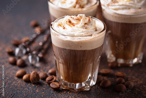 Wall mural Coffee latte with whipped cream