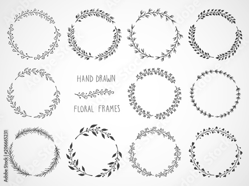 Vector Set Of Floral Hand Drawn Round Frames