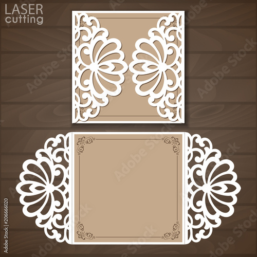 laser cut wedding invitation template vector cutout paper gate fold