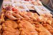Leinwanddruck Bild - Raw chicken meat in butcher shop