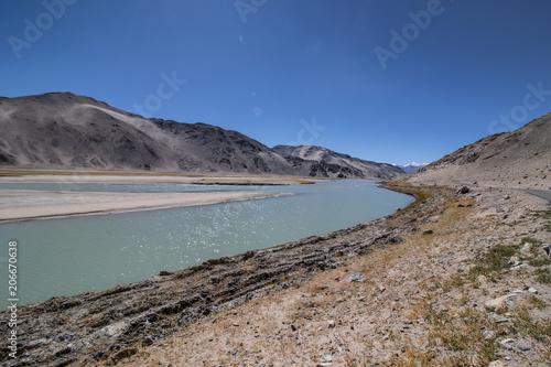 Aluminium Donkergrijs Tsomoriri lake at Ladakh