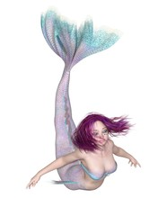 Pretty Pink And Blue Mermaid Swimming Forwards  Fantasy Illustration Sticker
