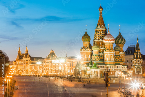 Fotobehang Moskou Moscow cityscape with St Basils Cathedral and Red Square buildings