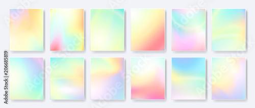 Streszczenie płyn, pastelowe gradienty, hologramy kreatywne szablony, karty, zestaw obejmuje kolor. Geometryczny wzór, płyny. Modna kolekcja wektor.