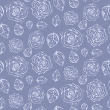 Tender Pale Blue Seamless Pattern  Outline Hand Drawn Scratched  Roses And Leaves Romantic Retro Flowers Texture For Textile Wrapping Paper  Wallpaper Sticker