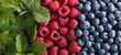 Ripe and juicy fresh blueberries and raspberries .