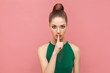 Woman showing shh, silence sign - 206693618