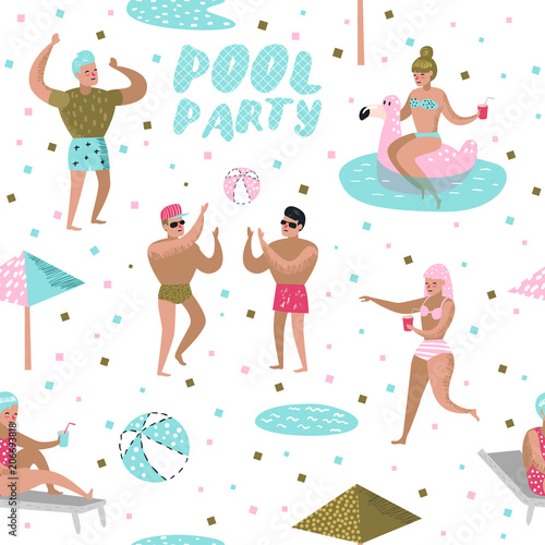 Cotton fabric Pool Party Seamless Pattern. Characters People Swimming, Relaxing, Have Fun in the Pool. Summertime Holidays Background for Wallpaper. Vector illustration