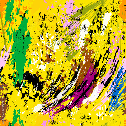Fotobehang Abstract met Penseelstreken abstract background composition, with paint strokes and splashes, seamless pattern