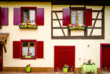 Old classic windows in historical village in Alsace - 206698485