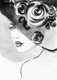 beautiful woman. fashion illustration. watercolor painting - 206700696
