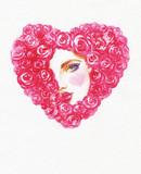 beautiful woman. fashion illustration. watercolor painting - 206700807