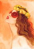 beautiful woman. fashion illustration. watercolor painting - 206700843