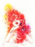beautiful woman. fashion illustration. watercolor painting - 206701067