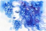 beautiful woman. fashion illustration. watercolor painting - 206701099