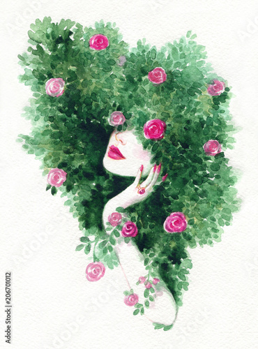 Sticker beautiful woman and flowers. fashion illustration. watercolor painting